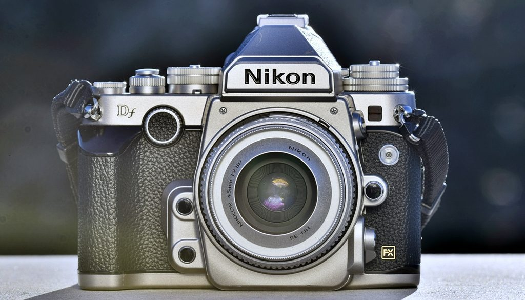Nikon-Df-Front-View-With-AiP-Nikkor-45mm-f2.8-WO-Lens-Cap