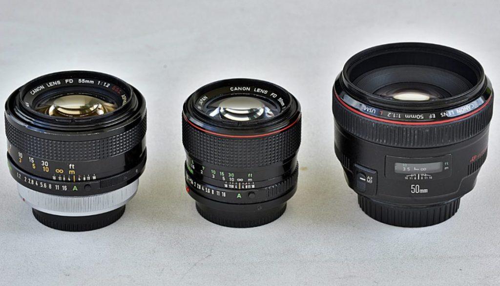 obiektywy canon, Canon EF 50 mm f/1.2L USM, Canon FD 50 mm f/1.2L ,Canon FD 55 mm f/1.2 SSC Aspherical