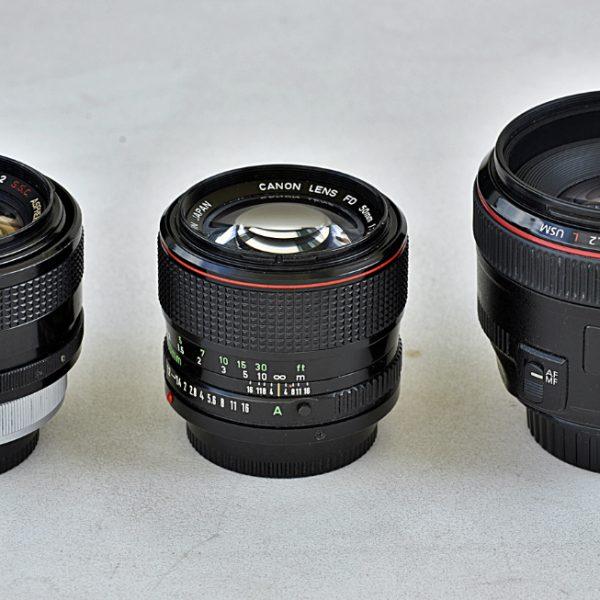 Canon FD 55 mm f/1,2 SSC Aspherical, Canon FD 50 mm f/1,2L, Canon EF 50 mm f/1,2L USM: standard według Canona, czyli soczewka asferyczna raz, dwa itrzy (EN)