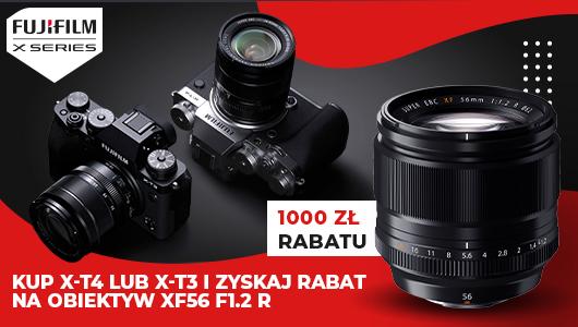 Aparat FUJIFILM X-T3 iX-T4 zobiektywem XF 56mm f/1.2R napowitanie jesieni 1000 zł taniej