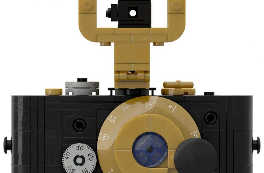 Ikona fotografii, prototyp aparatu Leica zroku 1914, jako zestaw LEGO