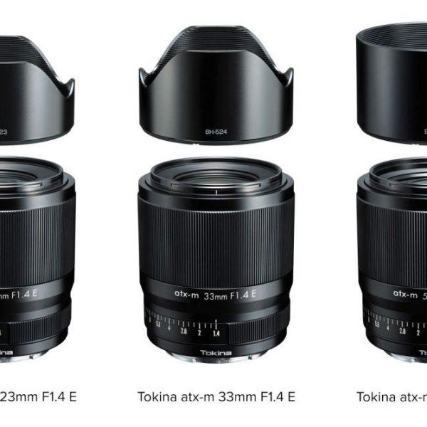 Obiektywy Tokina atx-m 23mm F1.4, Tokina atx-m 33mm F1.4 iTokina atx-m 56mm F1.4 wmocowaniu Sony E